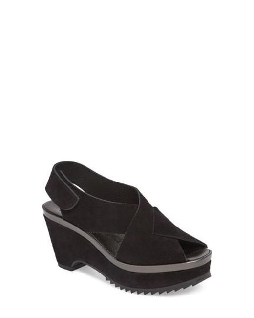 Pedro Garcia - Black Fayre Cross Strap Wedge Sandal - Lyst