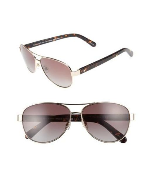 Kate Spade | Metallic 'dalia' 58mm Polarized Aviator Sunglasses | Lyst