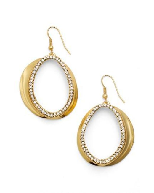 Karine Sultan | Metallic Crystal Front Hoop Earrings | Lyst