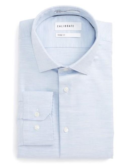 Calibrate | Blue Trim Fit Twill Dress Shirt for Men | Lyst