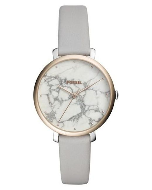 Fossil - Metallic Jacqueline Stone Dial Leather Strap Watch - Lyst