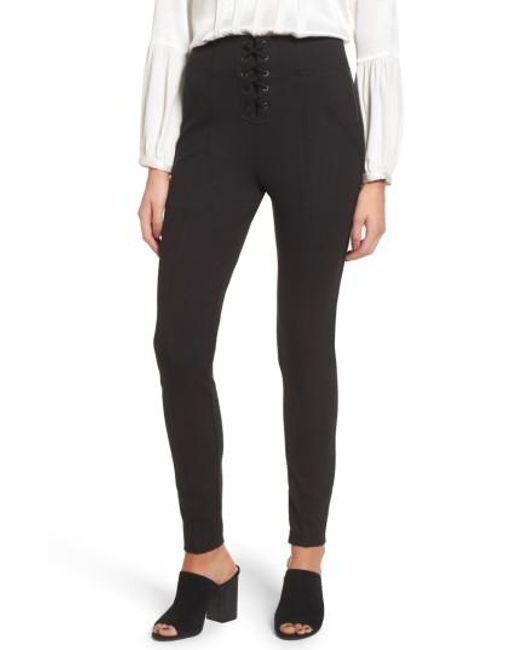Ella Moss | Black Lace-up Skinny Pants | Lyst