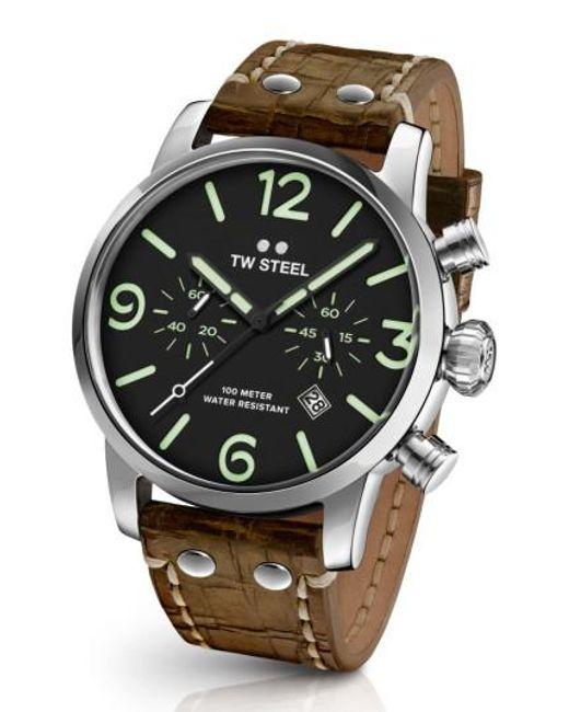 TW Steel | Multicolor Maverick Chronograph Leather Strap Watch for Men | Lyst