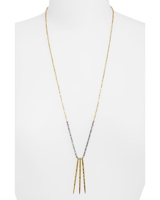 Sole Society - Metallic Stick Charm Beaded Necklace - Lyst