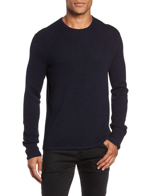Rag & Bone - Blue Gregory Wool Blend Crewneck Sweater for Men - Lyst