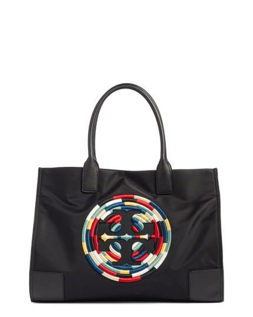 Tory Burch - Black Ella Embroidered Logo Nylon Tote - Lyst