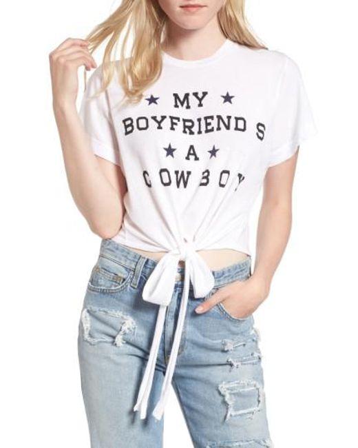 Wildfox - White My Boyfriend Is A Cowboy Tee - Lyst