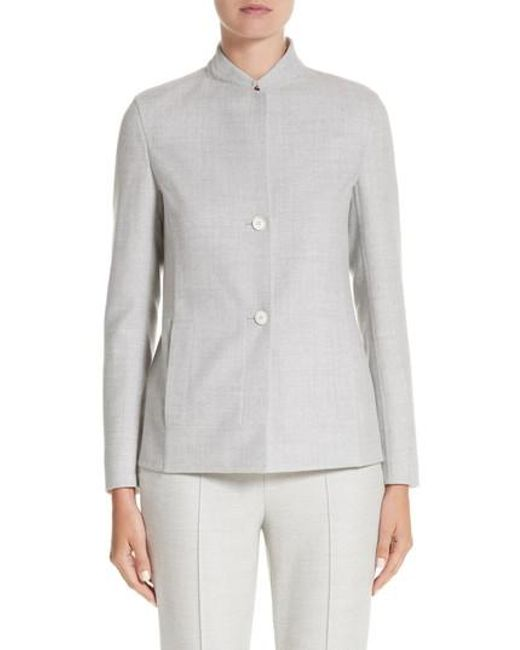 Akris | Gray Stretch Wool & Silk Bicolor Reversible Jacket | Lyst