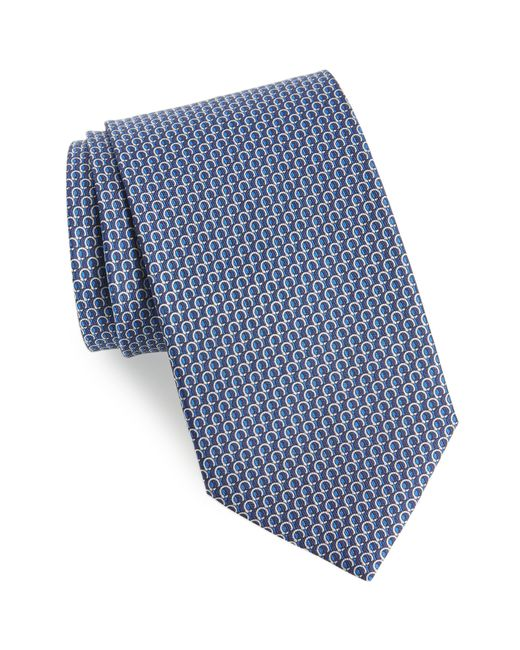 Ferragamo - Blue Filo Print Silk Tie for Men - Lyst