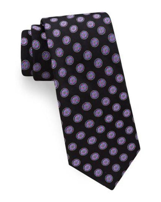 Ted Baker | Black Lifesaver Medallion Silk Tie for Men | Lyst