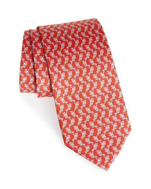 Ferragamo - Red Bunny Print Silk Tie for Men - Lyst