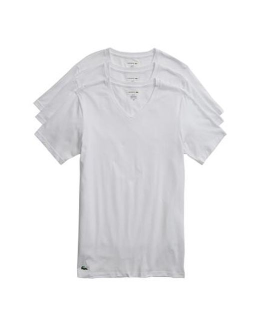 Lacoste - 3-pack Slim Fit V-neck T-shirts, White for Men - Lyst