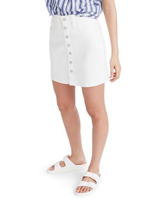 a9dfd6060d Lyst - Madewell Button Front Straight Denim Skirt in White