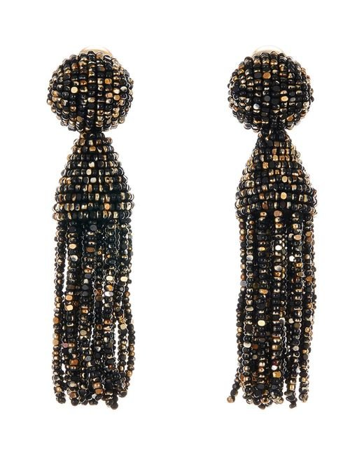 Oscar de la Renta - Multicolor Short Beaded Tassel Clip Earrings - Lyst