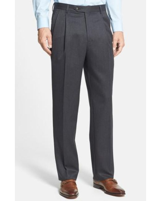 Berle   Gray Pleated Wool Gabardine Trousers for Men   Lyst