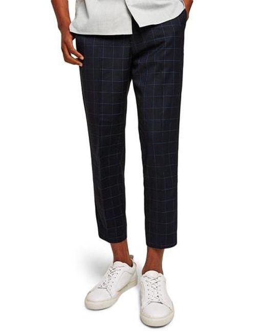 Topman - Black Slim Fit Grid Check Crop Pants for Men - Lyst