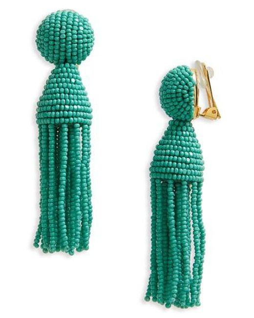 Oscar de la Renta   Blue Beaded Tassel Drop Earring   Lyst