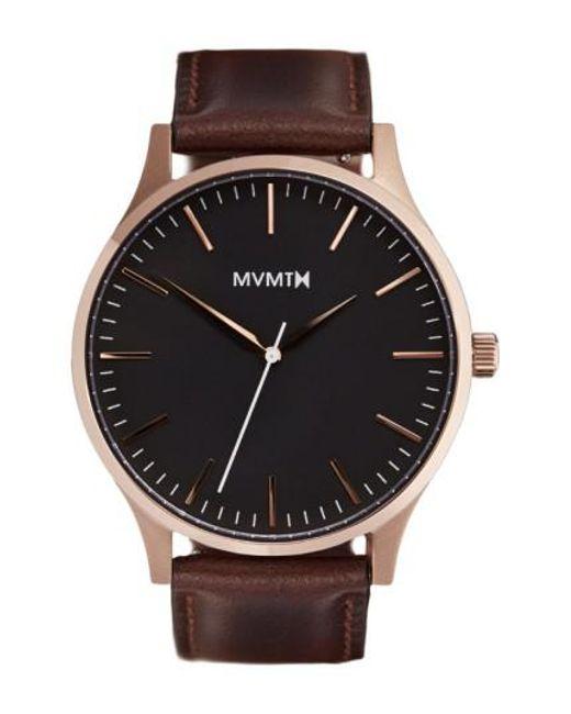 MVMT   Brown Leather Strap Watch   Lyst