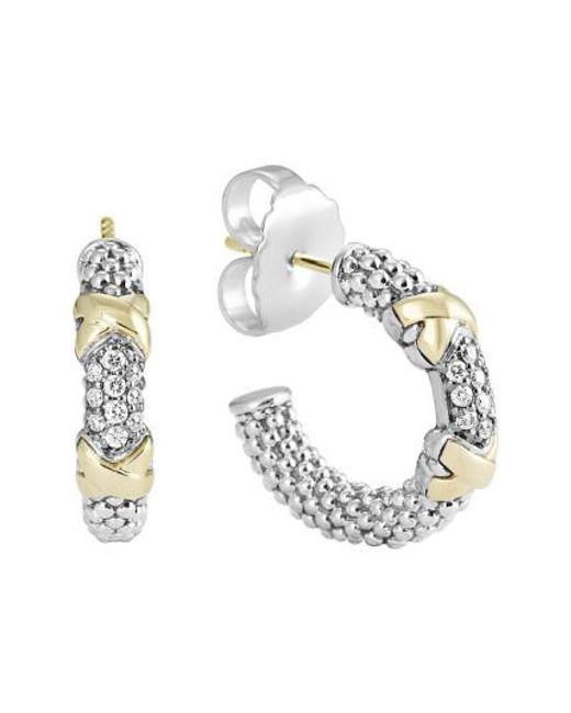 Lagos   Metallic 'diamond Lux' Diamond Small Hoop Earrings   Lyst