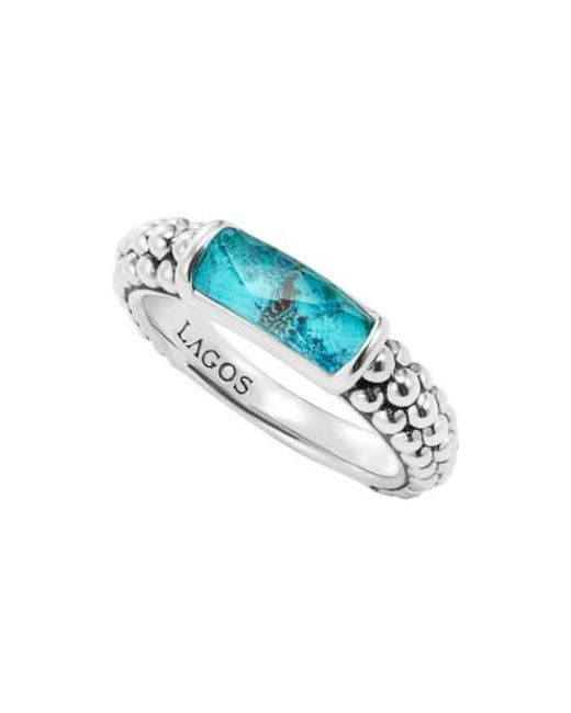 Lagos - Blue 'maya' Stackable Caviar Ring - Lyst