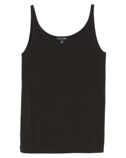 Eileen Fisher | Black Scoop Neck Silk Camisole | Lyst