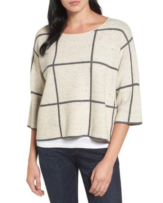Eileen Fisher | Natural Windowpane Check Boxy Sweater | Lyst