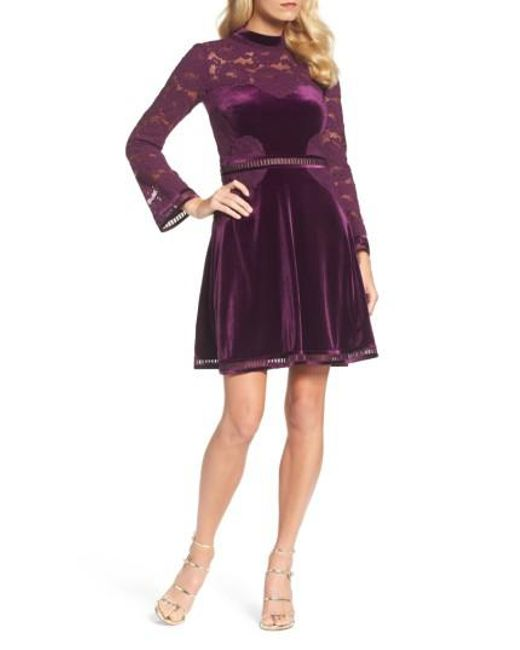 Tadashi Shoji | Purple High Neck Lace & Velvet Cocktail Dress | Lyst