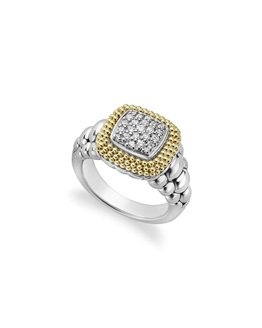 Lagos - Metallic 18k Gold And Sterling Silver Diamond Lux Square Ring - Lyst