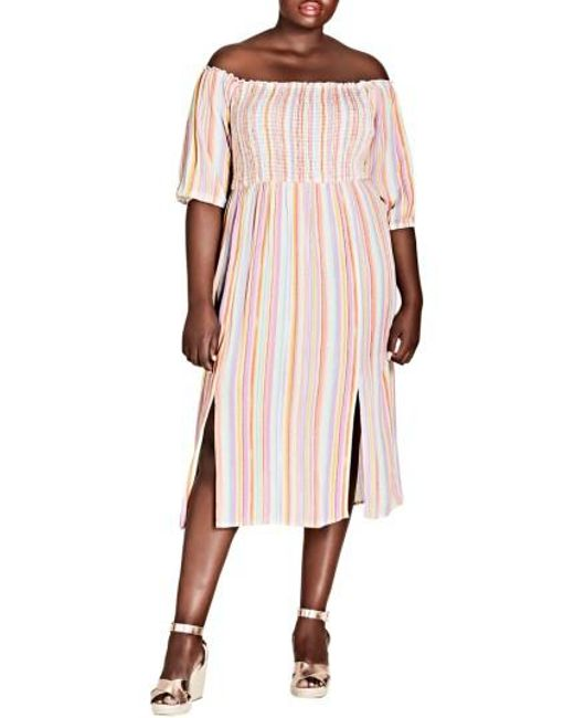 City Chic - Pink Island Stripe Midi Dress - Lyst