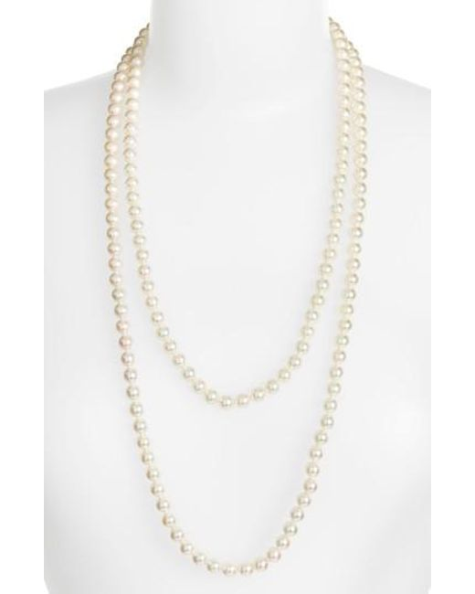 Majorica - White 7mm Round Pearl Endless Rope Necklace - Lyst