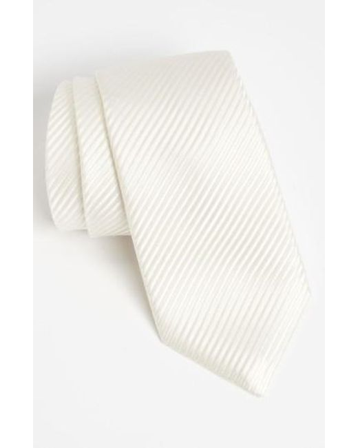 David Donahue   White Woven Silk Tie for Men   Lyst