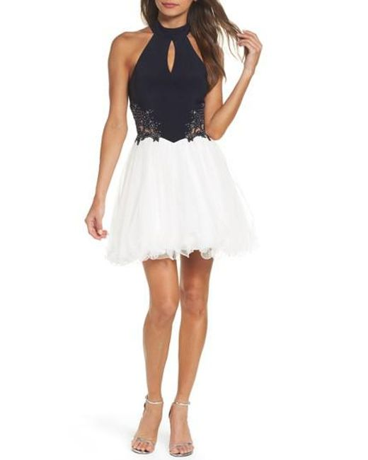 Blondie Nites | White Keyhole Applique Fit & Flare Dress | Lyst