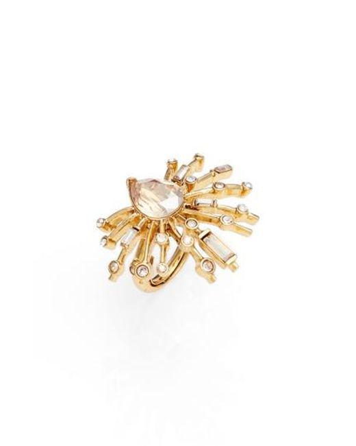 Oscar de la Renta | Metallic Radial Crystal Ring | Lyst