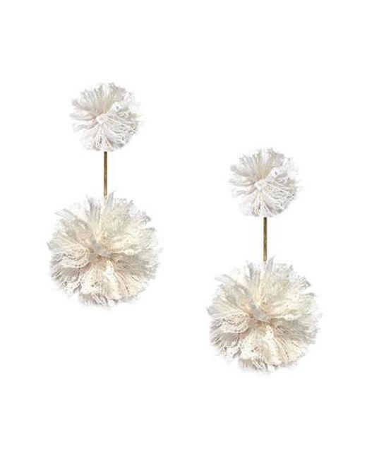 Tuleste - Multicolor Double Lace Pom Pom Earrings - Lyst