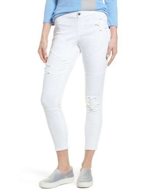 Hue - White Star Patch Denim Moto Skimmer Leggings - Lyst