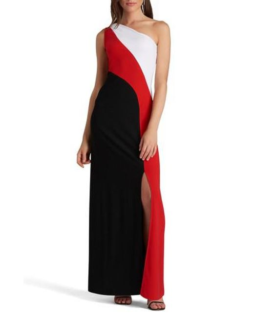 Eci | Red One-shoulder Colorblock Maxi Dress | Lyst