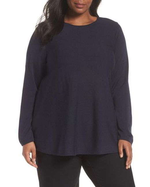 Eileen Fisher - Blue Lyocell & Silk Sweater - Lyst