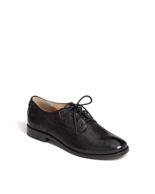 Frye | Black Anna Burnished-Leather Oxford Shoes | Lyst