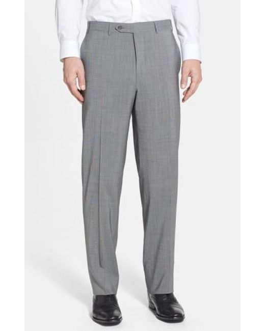 Canali | Gray Flat Front Wool Trousers for Men | Lyst