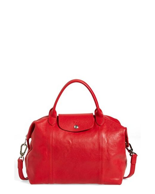 Longchamp | Red 'le Pliage Cuir' Leather Handbag | Lyst