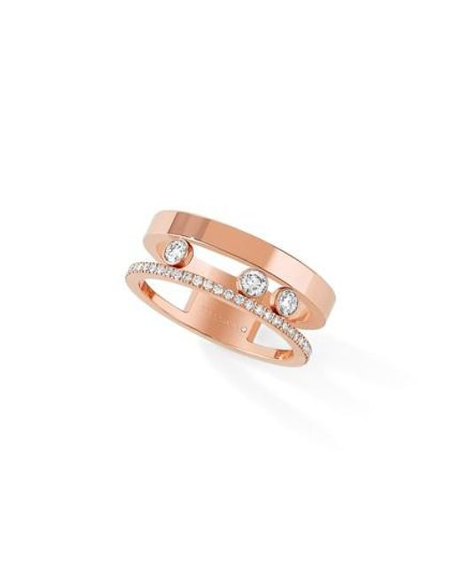 Messika - Pink Two Row Move Romane Diamond Ring - Lyst