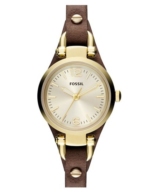 Fossil | Metallic 'small Georgia' Leather Strap Watch | Lyst