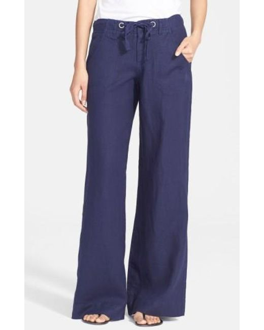 Joie | Blue Wide Leg Linen Pants | Lyst