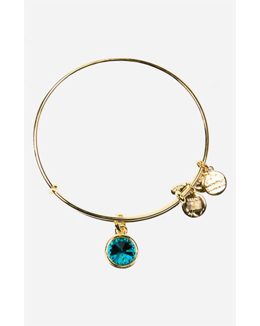 ALEX AND ANI | Blue Birthstone Expandable Wire Bangle | Lyst