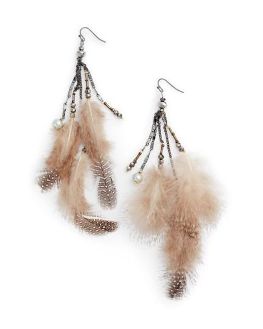Nakamol   White Small Feather Drop Earrings   Lyst