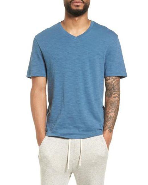 Vince - Blue Slim Fit Slub V-neck T-shirt for Men - Lyst