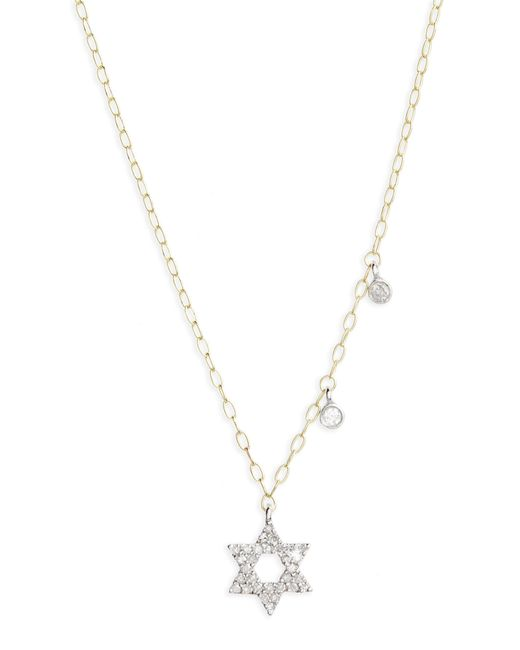 Meira T - Metallic Diamond Star Of David Pendant Necklace - Lyst