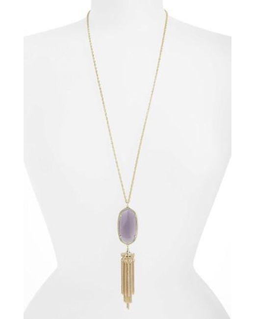 Kendra Scott | Gray 'rayne' Stone Tassel Pendant Necklace | Lyst
