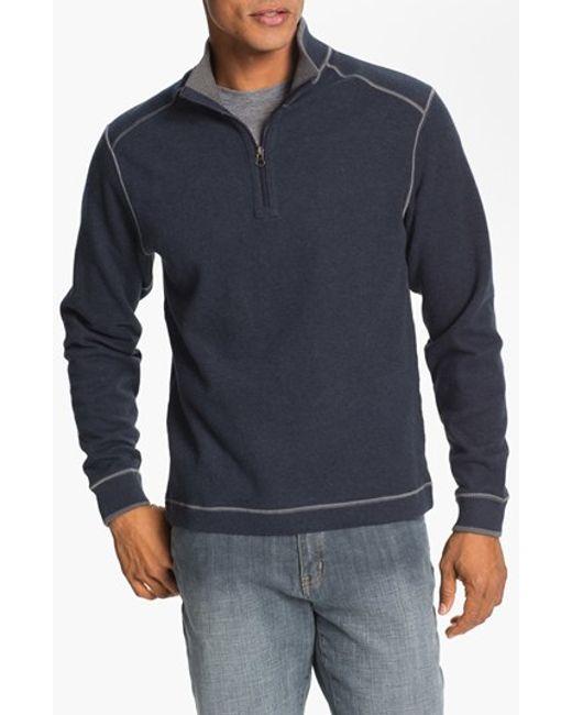 Cutter & Buck | Blue 'overtime' Regular Fit Half Zip Sweater for Men | Lyst