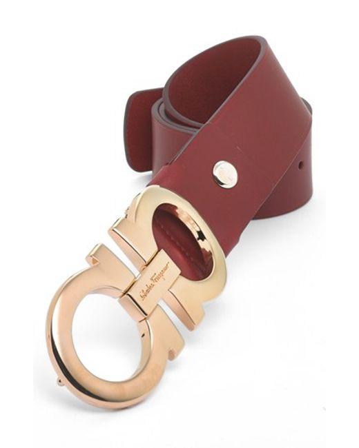 Ferragamo | Red Calfskin Belt for Men | Lyst